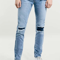 LIGHT WASH RIP AND REPAIR STRETCH SKINNY JEANS