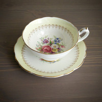 Antique Paragon white and yellow floral tea cup and saucer with gold detailing, English tea set, bone china wedding gift