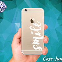 Smile Cursive White Quote Cute Tumblr New iPhone 5, iPhone 5C, iPhone 6, and iPhone 6 +, iPhone 6s, iPhone 6s Plus and iPhone SE Clear Case