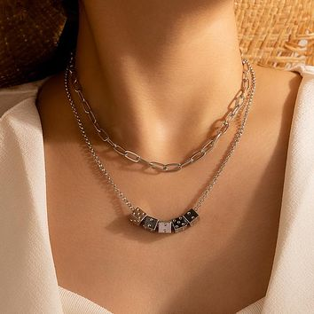 Dice Necklace for Women Silver Color Alloy Metal Multilayer Thick Chain Choker Jewelry Accessories