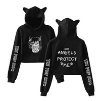 KPOP BTS Bangtan Boys Army  Hot Sale Hip Hop lil peep Cat Crop Top Women Clothes 2018 Hoodies Sweatshirts Casual Harajuku Tops  Plus Size A9995 AT_89_10