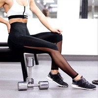 Fashion Mesh Patchwork Leggings Women 2016 Fitness Pants Female High Waist Skinny Leggings Sexy Calzas Deportivas Mujer Fitness