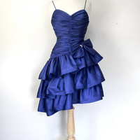 Vintage 80s Dress / Purple Satin Rocker Glam Dress / Tiered Ruffled Runched Spagetti Strapped Frock / Evening Party Festive Cocktail Dress