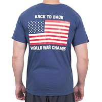 Back to Back World War Champs Pocket Tee in Navy by Full Time American