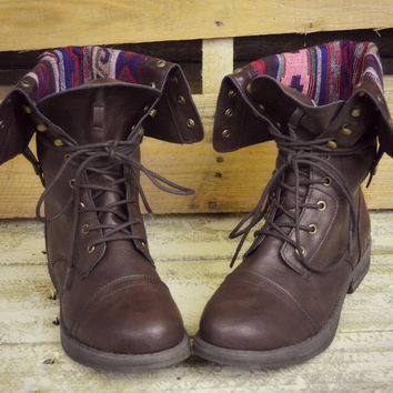 Arrow Lake Brown Tribal Fold Over Combat Boots