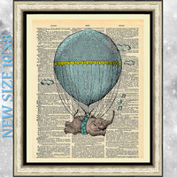 Art print on dictionary book page baby elephant and air balloon. Nursery print on antique book page. Flying elephant blue artwork poster.