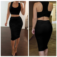 Summer Two Piece Cotton Dress Summer Style Sleeveless Bandage Bodycon Sexy Party Maxi  Dresses