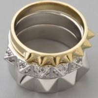 Noir Jewelry Stackable Pyramid Ring Set