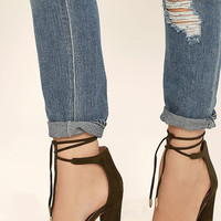 Angela Olive Suede Lace-Up Heels