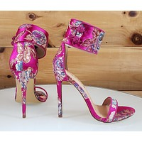 """Liliana Fuchsia Satin Embroidered Floral Ankle Strap 4.5"""" High Heel Shoe"""
