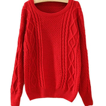 Red Chunky Knit Sweater