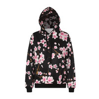 2017 Tracksuit Jersey Moletom Feminina Harajuku Peach Plum Flower 3D Print Hoodies Sweatshirt Women Men Hoody Coat Female Sweat