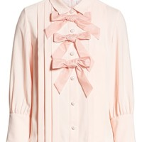 Halogen® x Atlantic-Pacific Bow Front Pleated Blouse | Nordstrom