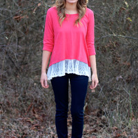 Oh La La Lace Trim Top {Berry}