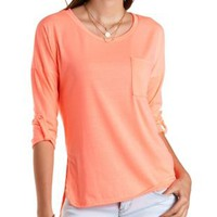 Slouchy High-Low Pocket Tee by Charlotte Russe