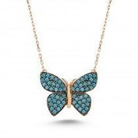 Teal Butterfly Necklace in rose gold