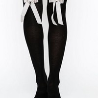 ASOS Over The Knee Socks With Oversized Bow