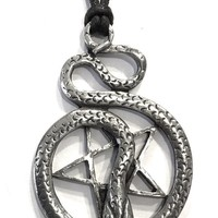 Pentacle of Snake Wiccan Sorcery Unisex Pewter Pendant Charm Necklace