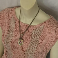 Vintage 80s NANCY BOSSIO Dusty Pink Sweater Vest / BANANAS Knit By Hand / Large Cable Knit / Wide Knitted Braid / Poly Cotton Nylon Blend