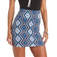 Tribal Print Bodycon Mini Skirt by Charlotte Russe - Blue Combo