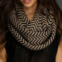 Black & Taupe Chevron Sweater Scarf