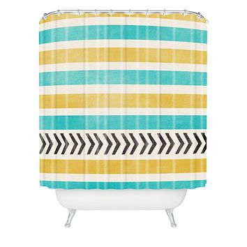 Allyson Johnson Green And Blue Stripes And Arrows Shower Curtain