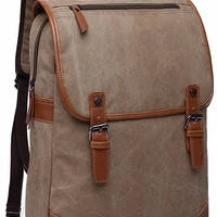 Kenox Khaki Canvas Vintage College Backpack School Bookbag Laptop Backpack for 14.1-inch Pc Macbook Pro Fits All Ipad Generations