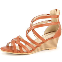 """""""Jamea"""" Strappy Low Wedge Sandals - Camel"""