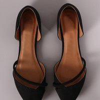 Qupid Suede Pointy Toe Dorsay Flat