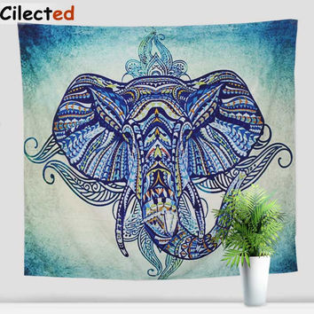 Drop Shipping New Arrival Elephant Tapestry India Wall Hanging Home Decoration Tapestries Blue Colorful Boho Printed Blanket