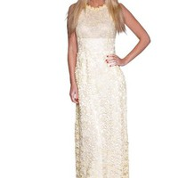 Beautifly Women's Elegant White Thick Lace Ball Gown