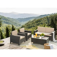 Flamaker 4 Pieces Patio Furniture Set Outdoor Furniture Set Rattan Conversation Sofa Set with Coffee Table for Garden Poolside Porch Backyard Lawn Balcony Use (Black) Black