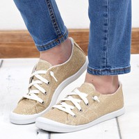 Not Rated: Neema Shimmer Memory Foam Sneakers {Gold Glitter}