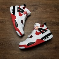 "[ Free  Shipping ]Air Jordan 4 Retro ""Fire Red 836011-107  Basketball Sneaker"