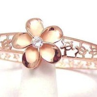 PINK ROSE SILVER 925 HAWAIIAN PLUMERIA FLOWER HONU SEA TURTLE BANGLE 7""