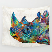 Rhino Rhinoceros Art - Looking Up - By Sharon Cummings Wall Tapestry by Sharon Cummings