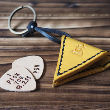 Personalized Leather Guitar Pick Case Keychain #Yellow