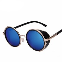 Round Metal Wrap Sunglasses