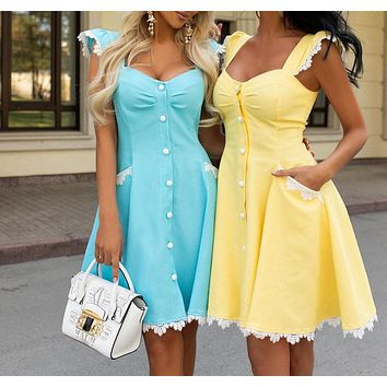 Fashionable women's hot-selling new style square neck lace stitching sexy slim and big swing dress