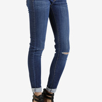 Knee Slit Ankle Skinny Denim by Just USA - Medium Wash