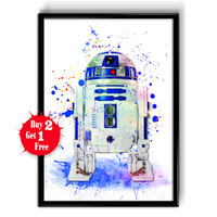 R2D2 Star Wars Movie Poster, Star Wars Poster, R2D2 Star Wars 7 Art Print, Watercolor Star Wars, Watercolor Painting Wall Hanging, R2D2