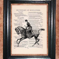 Victorian Lady Horse Rider - Vintage Dictionary Book Page Art Print Beautiful Upcycled Page Art Wall Decor Art Print