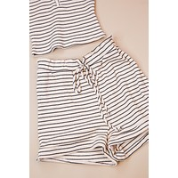 Stuck With You Stripe Rib Knit Lounge Shorts, Cream/Black