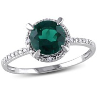0.05 CT  Diamond TW And 1 1/2 CT TGW Created Emerald Fashion Ring  10k White Gold GH I2;I3