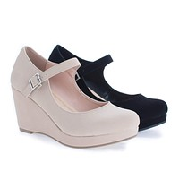 Mark By Classified, Round Toe Mary Jane Platform Wedge Sandals