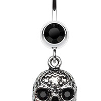 Skull Rose Beauty Belly Button Ring