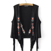 Ethnic Faux Suede Tassel Geometric Embroidery Vest Retro Women Sleeveless Suit Slim Fit Gilet Waistcoat Tops 2 colors S M L