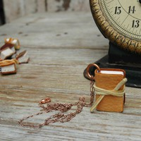 Book Necklace Autumnal mid century deerskin by TheBlackSpotBooks