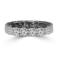 4.5 CT. TW (3.75mm) Intensely Radiant Round Diamond Veneer Cubic Zirconia Prong Set all Around Classic Eternity Band Engagement/Wedding Ring. 635R103