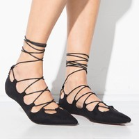 Rose Lace Up Flats
